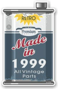 Vintage Aged Retro Oil Can Design Made in 1999 Vinyl Car sticker decal  70x110mm